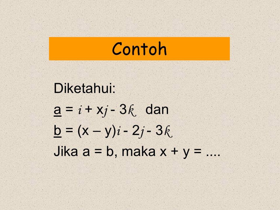 Contoh Diketahui: a = i + xj - 3k dan b = (x – y)i - 2j - 3k