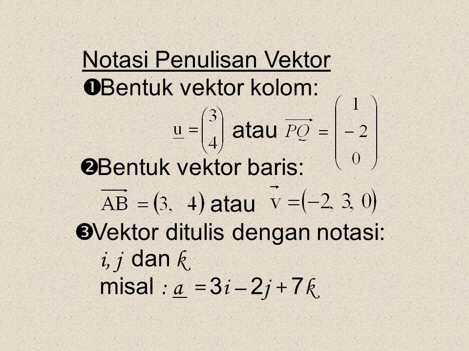 Notasi Penulisan Vektor