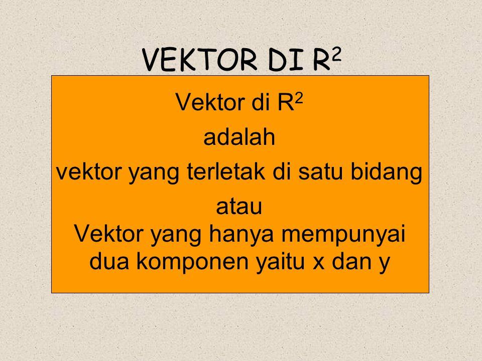 VEKTOR DI R2 Vektor di R2 adalah vektor yang terletak di satu bidang
