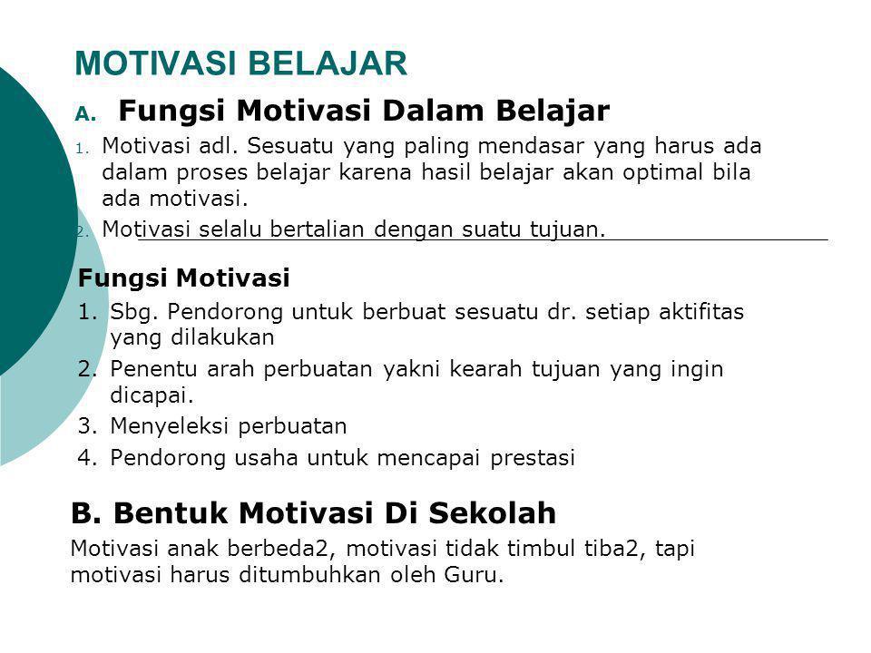 MOTIVASI BELAJAR Fungsi Motivasi Dalam Belajar