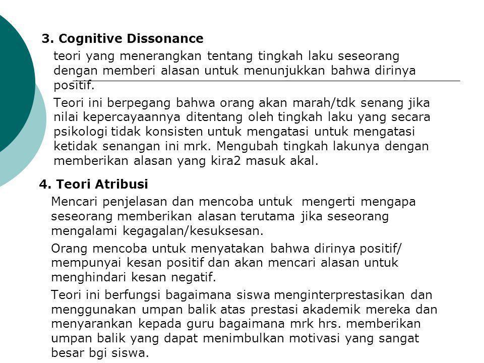 3. Cognitive Dissonance teori yang menerangkan tentang tingkah laku seseorang dengan memberi alasan untuk menunjukkan bahwa dirinya positif.