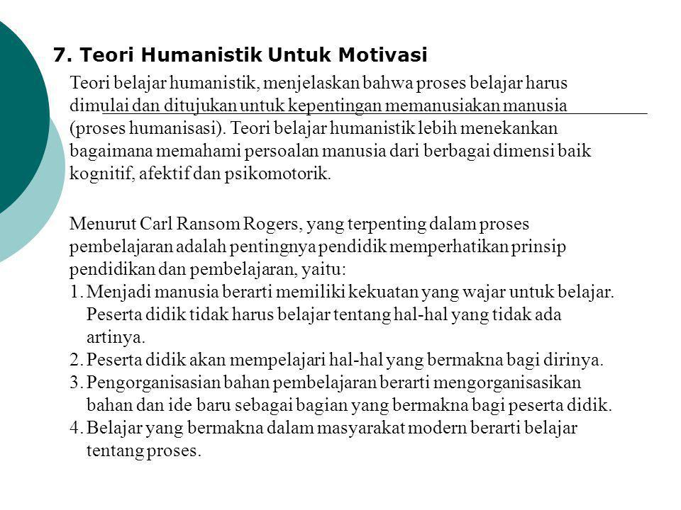 7. Teori Humanistik Untuk Motivasi