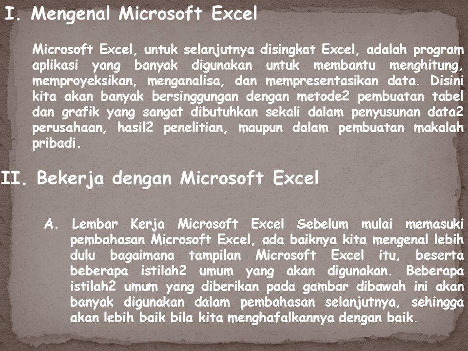 I. Mengenal Microsoft Excel