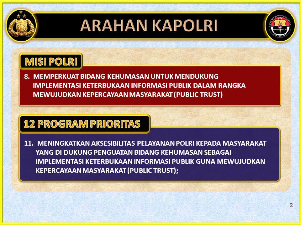 ARAHAN KAPOLRI MISI POLRI 12 PROGRAM PRIORITAS