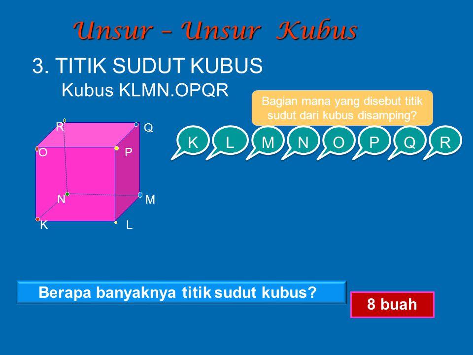 Bagian mana yang disebut titik sudut dari kubus disamping
