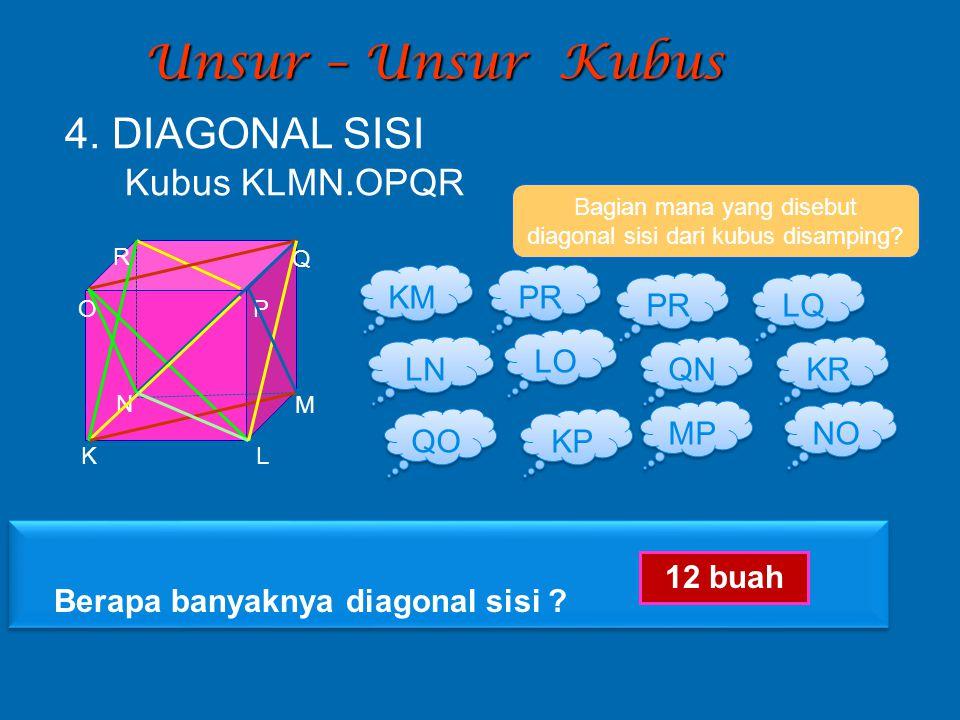 Bagian mana yang disebut diagonal sisi dari kubus disamping