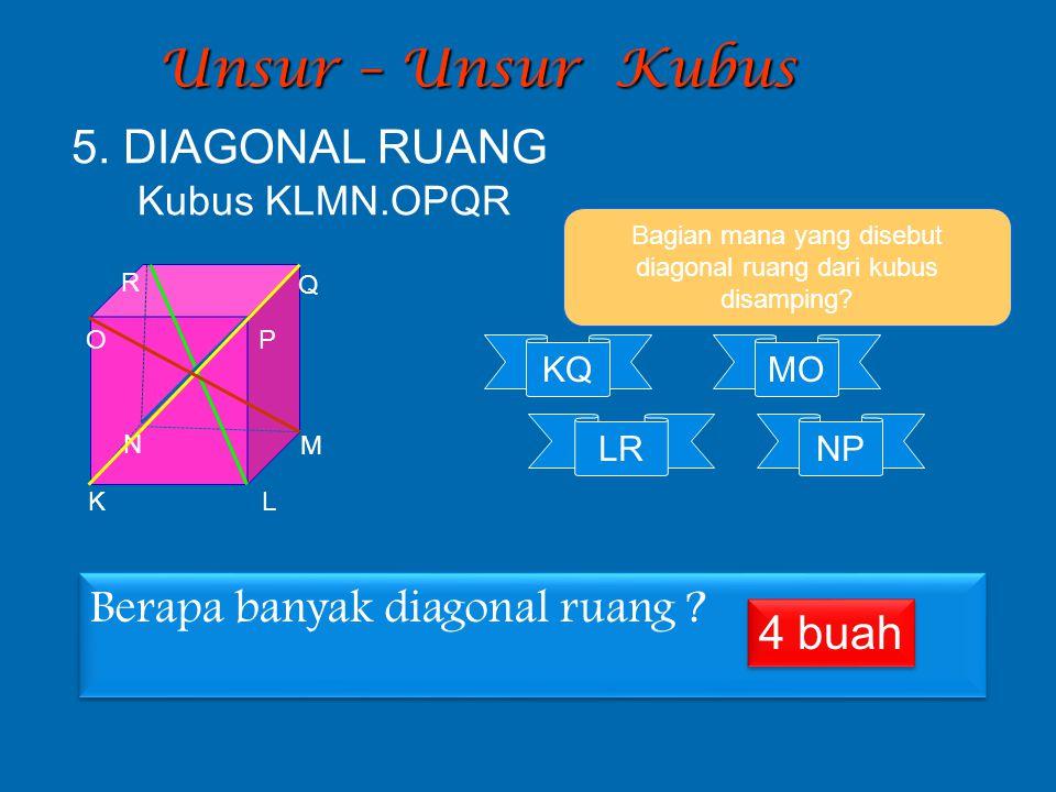 Bagian mana yang disebut diagonal ruang dari kubus disamping