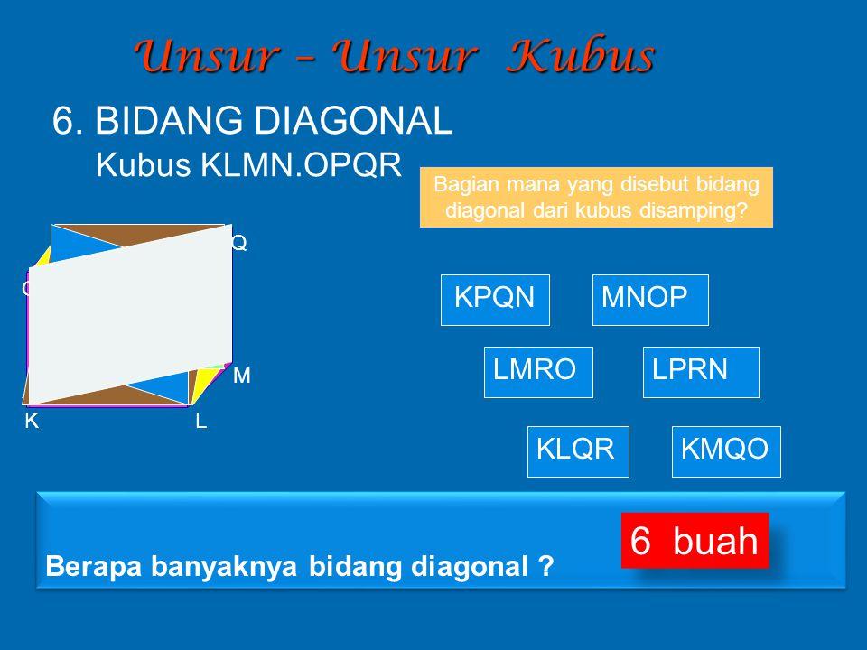 Bagian mana yang disebut bidang diagonal dari kubus disamping