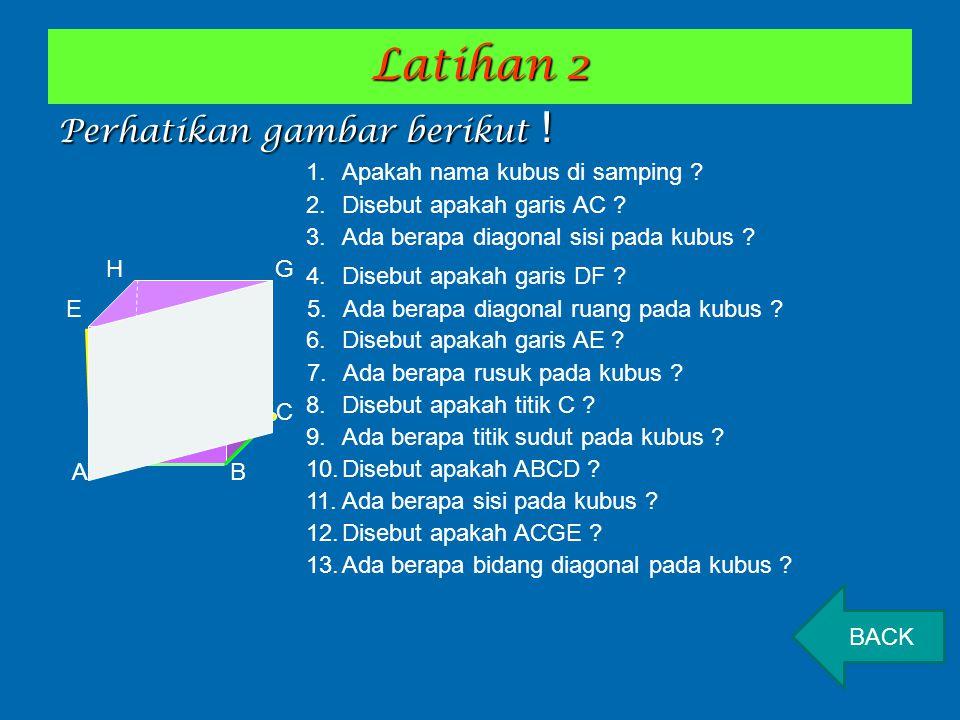 Latihan 2 Perhatikan gambar berikut ! Apakah nama kubus di samping