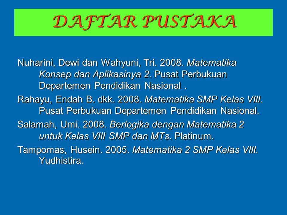 DAFTAR PUSTAKA Nuharini, Dewi dan Wahyuni, Tri. 2008. Matematika Konsep dan Aplikasinya 2. Pusat Perbukuan Departemen Pendidikan Nasional .