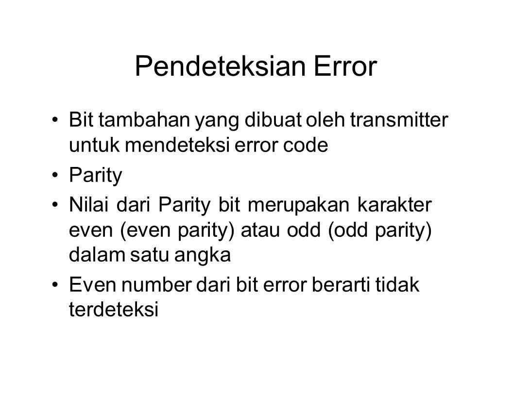 Pendeteksian Error Bit tambahan yang dibuat oleh transmitter untuk mendeteksi error code. Parity.