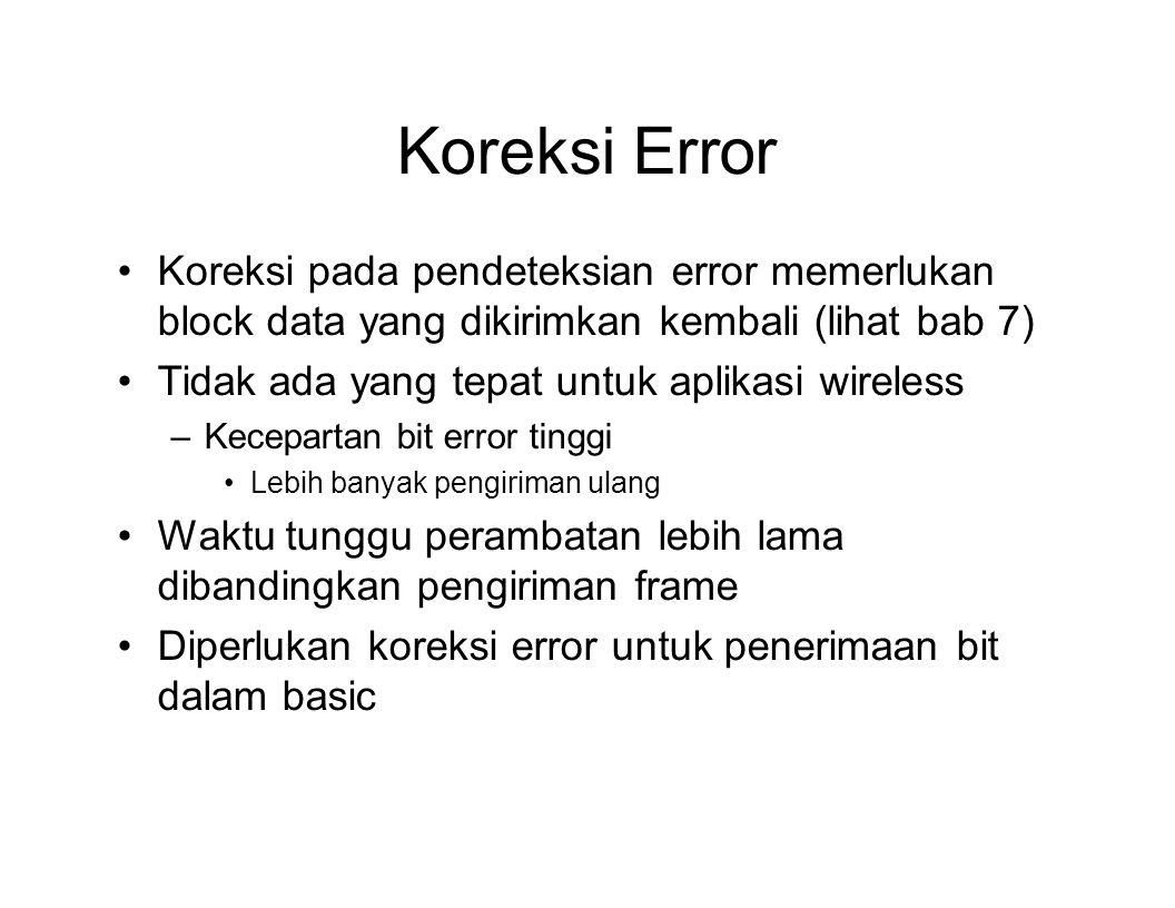 Koreksi Error Koreksi pada pendeteksian error memerlukan block data yang dikirimkan kembali (lihat bab 7)