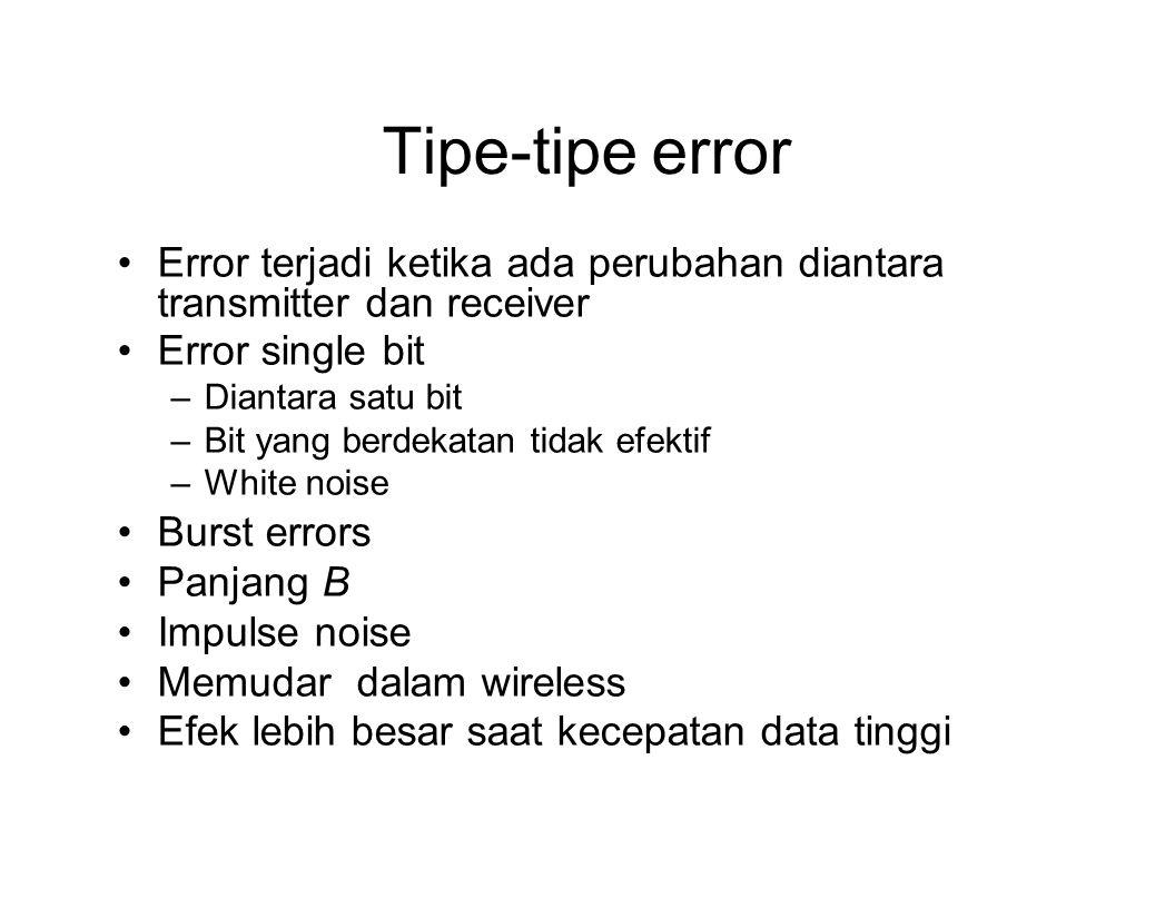 Tipe-tipe error Error terjadi ketika ada perubahan diantara transmitter dan receiver. Error single bit.