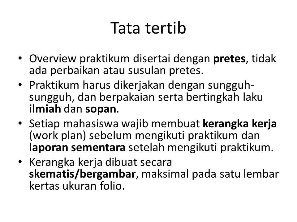 Tata tertib Overview praktikum disertai dengan pretes, tidak ada perbaikan atau susulan pretes.