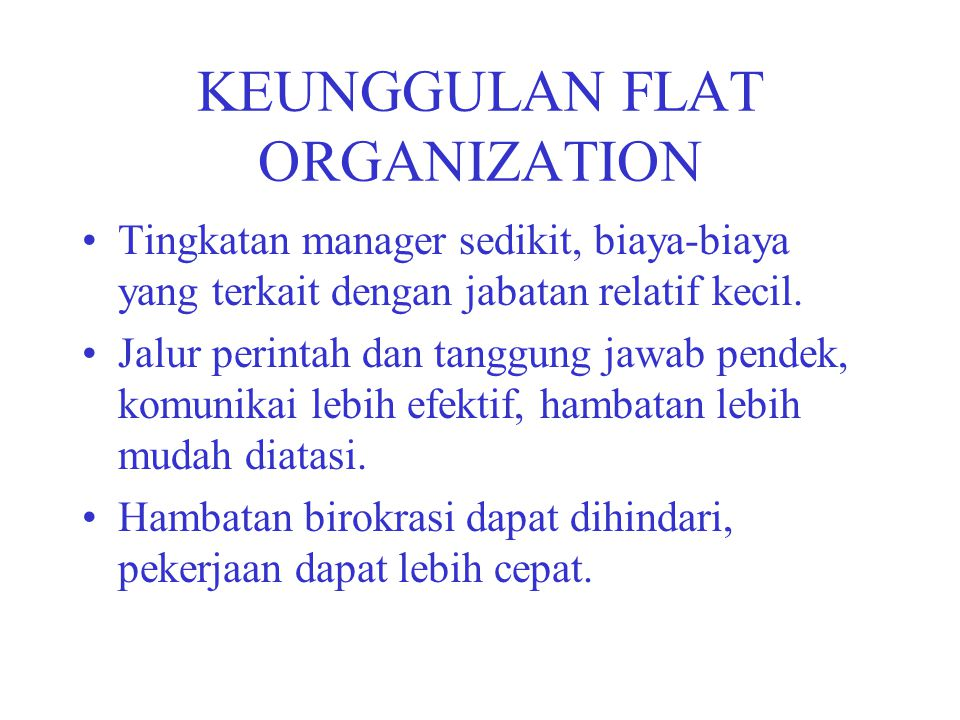 KEUNGGULAN FLAT ORGANIZATION
