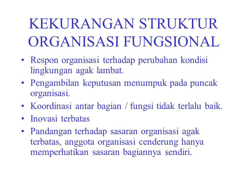 KEKURANGAN STRUKTUR ORGANISASI FUNGSIONAL