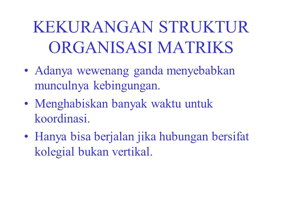 KEKURANGAN STRUKTUR ORGANISASI MATRIKS
