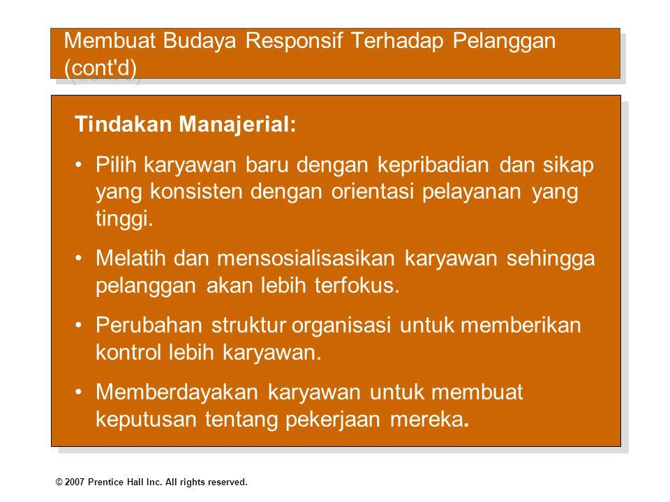 MemMembuat Budaya Responsif Terhadap Pelanggan (cont d)