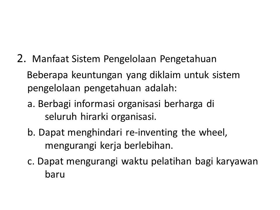 2. Manfaat Sistem Pengelolaan Pengetahuan
