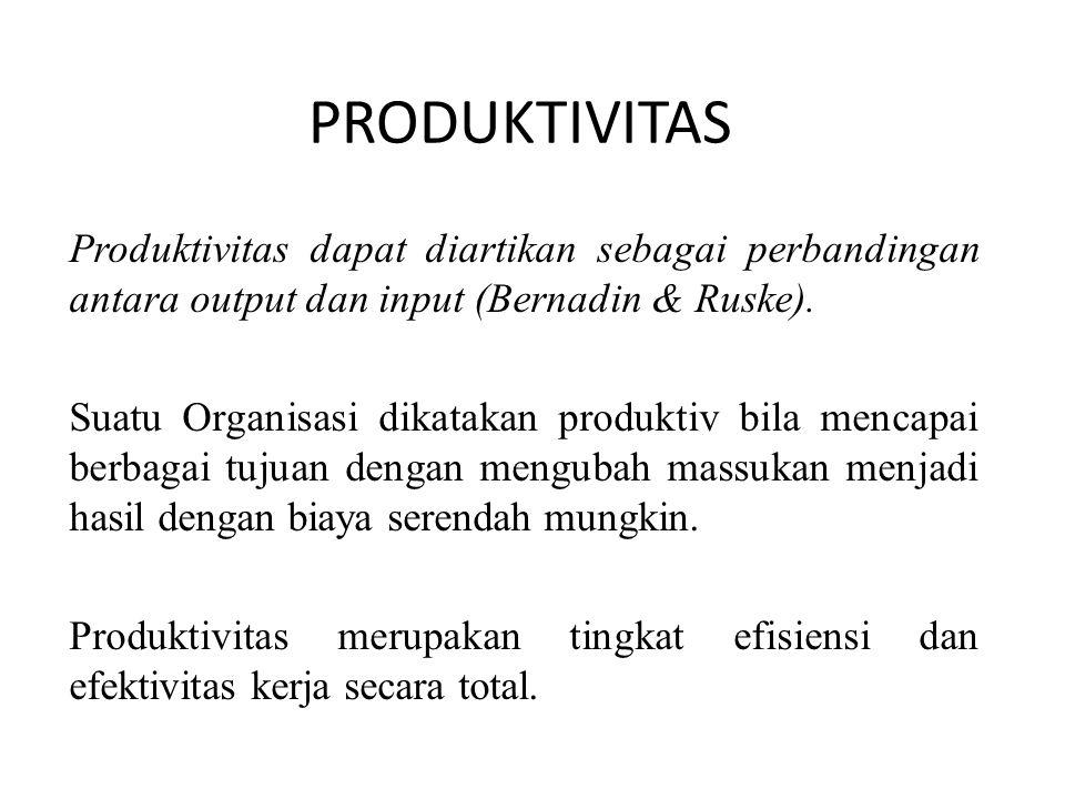 PRODUKTIVITAS Produktivitas dapat diartikan sebagai perbandingan antara output dan input (Bernadin & Ruske).