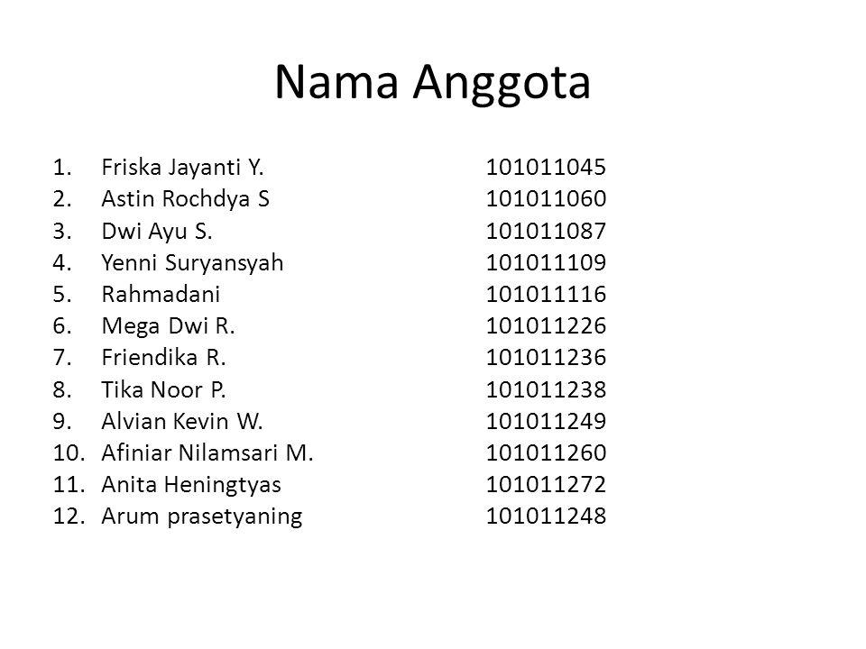 Nama Anggota Friska Jayanti Y. 101011045 Astin Rochdya S 101011060