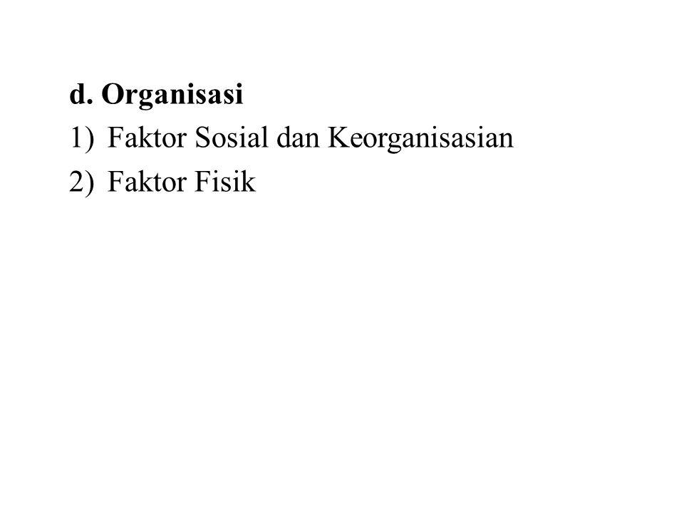 d. Organisasi Faktor Sosial dan Keorganisasian Faktor Fisik