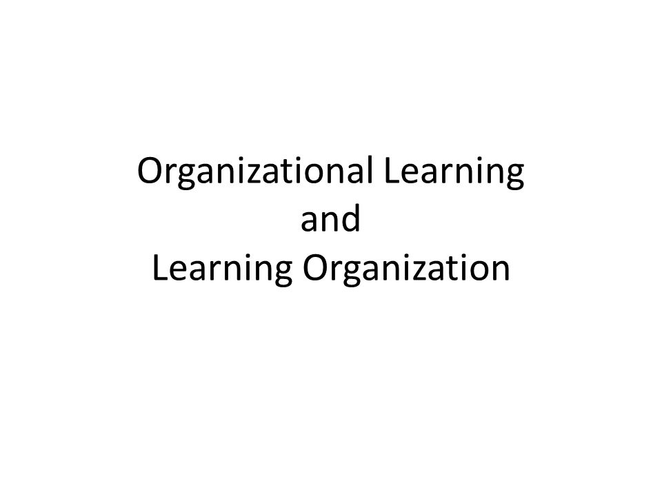 Organizational Learning and Learning Organization