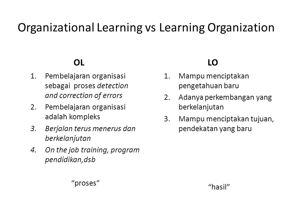 Organizational Learning vs Learning Organization