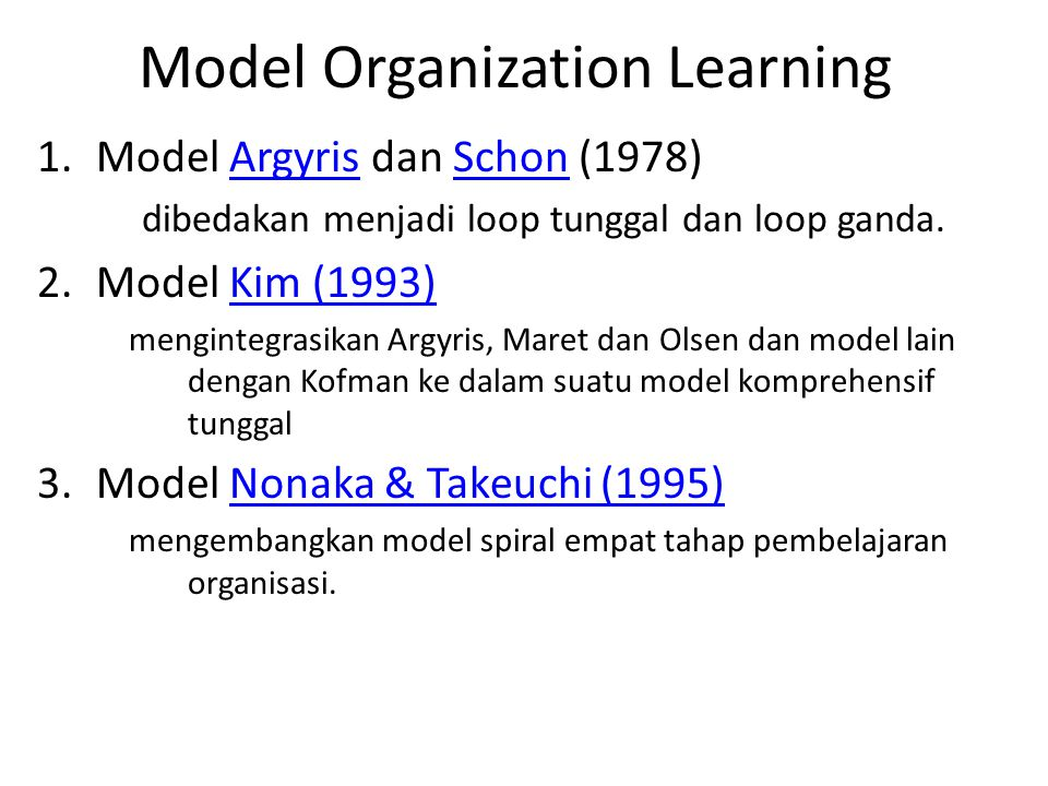 Model Organization Learning