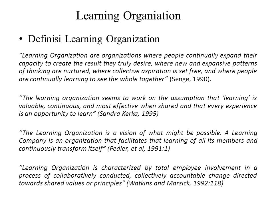 Learning Organiation Definisi Learning Organization