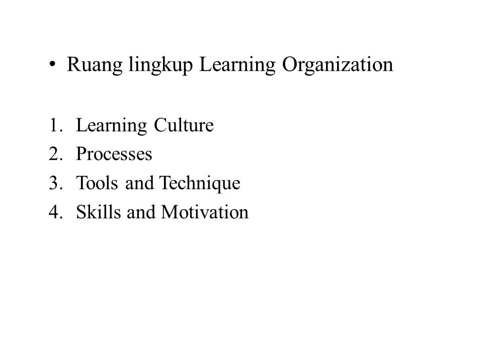 Ruang lingkup Learning Organization
