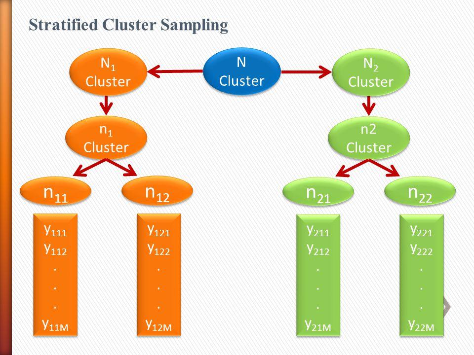 n11 n12 n21 n22 Stratified Cluster Sampling N1 Cluster N Cluster