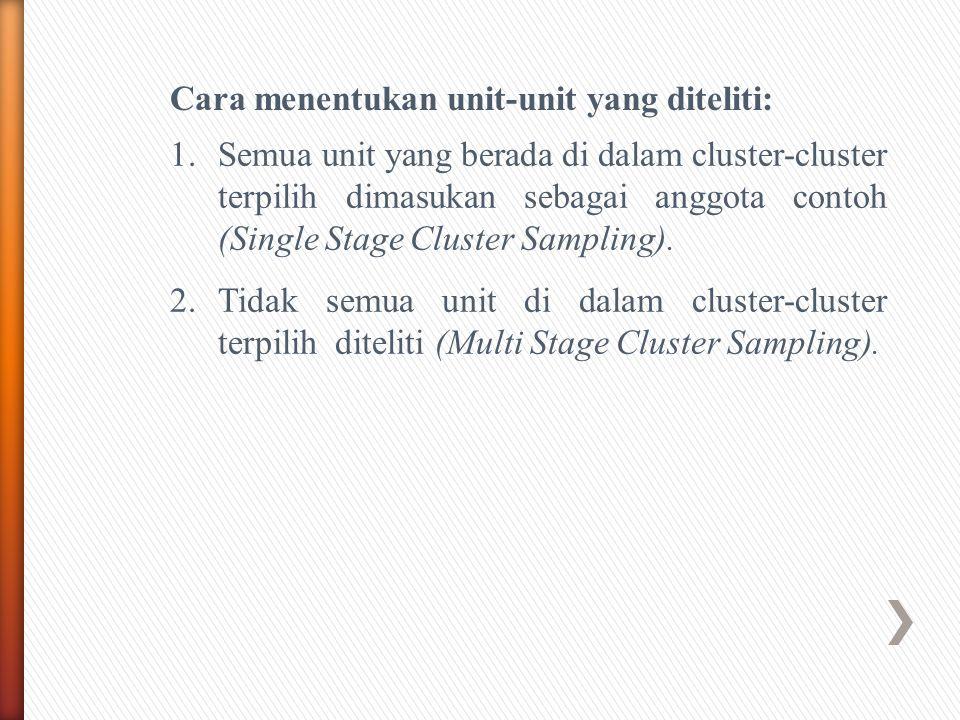 Cara menentukan unit-unit yang diteliti: