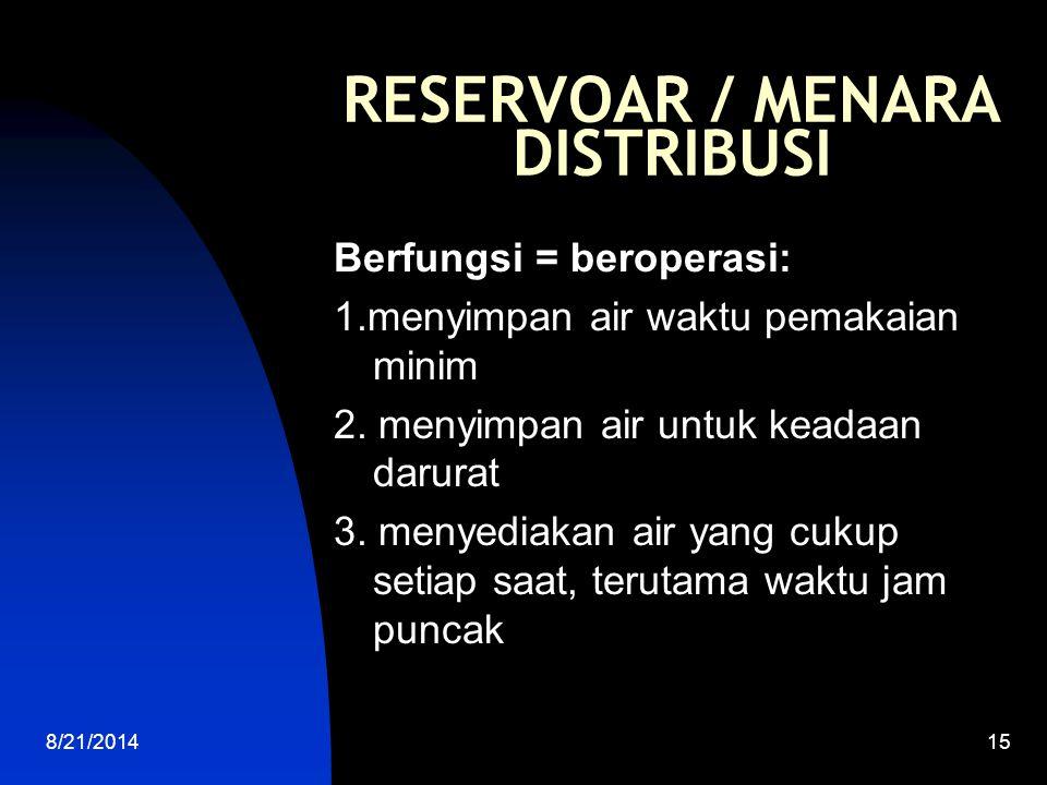 RESERVOAR / MENARA DISTRIBUSI