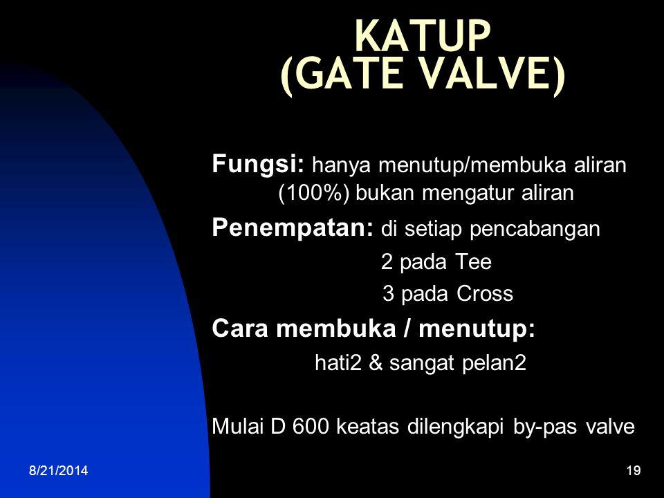 KATUP (GATE VALVE) Fungsi: hanya menutup/membuka aliran (100%) bukan mengatur aliran. Penempatan: di setiap pencabangan.