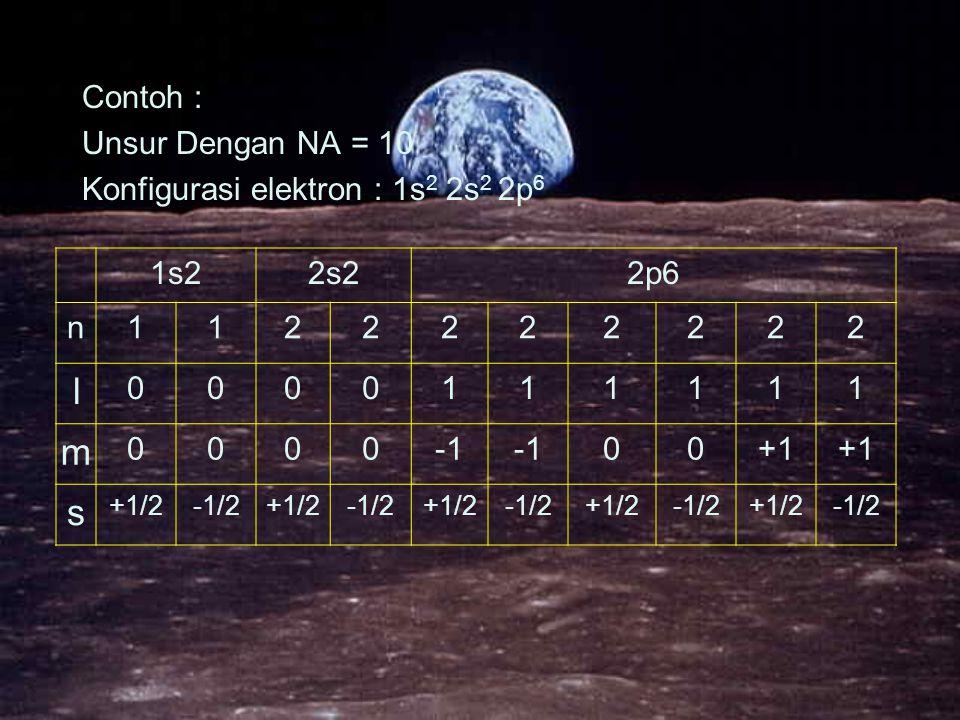 l m s Contoh : Unsur Dengan NA = 10 Konfigurasi elektron : 1s2 2s2 2p6