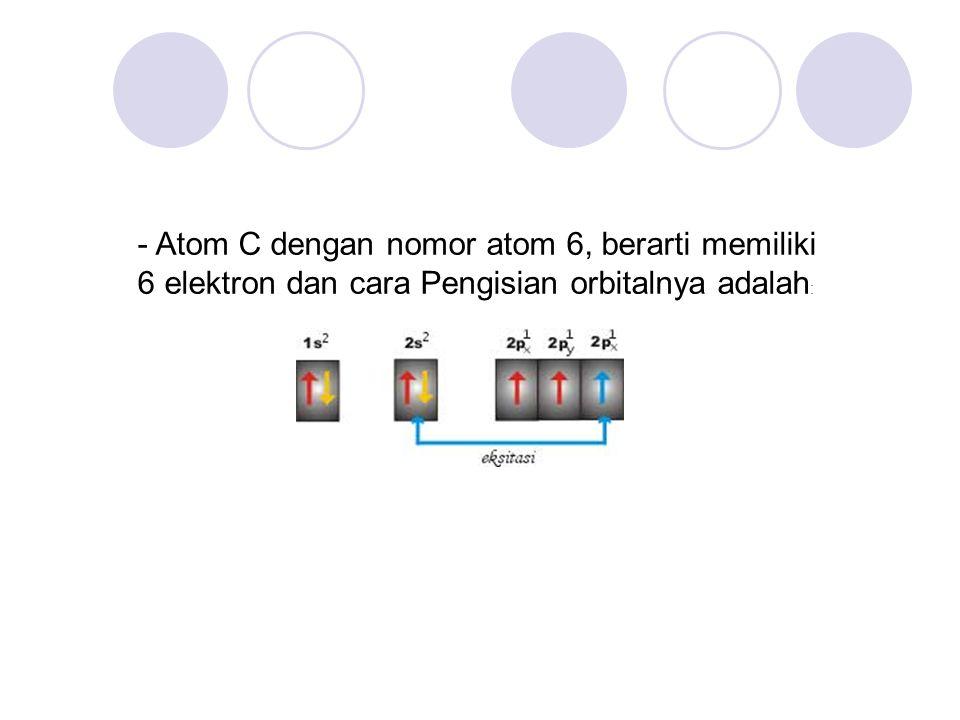 - Atom C dengan nomor atom 6, berarti memiliki 6 elektron dan cara Pengisian orbitalnya adalah: