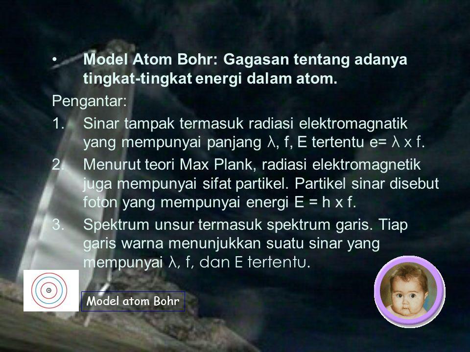 Model Atom Bohr: Gagasan tentang adanya tingkat-tingkat energi dalam atom.