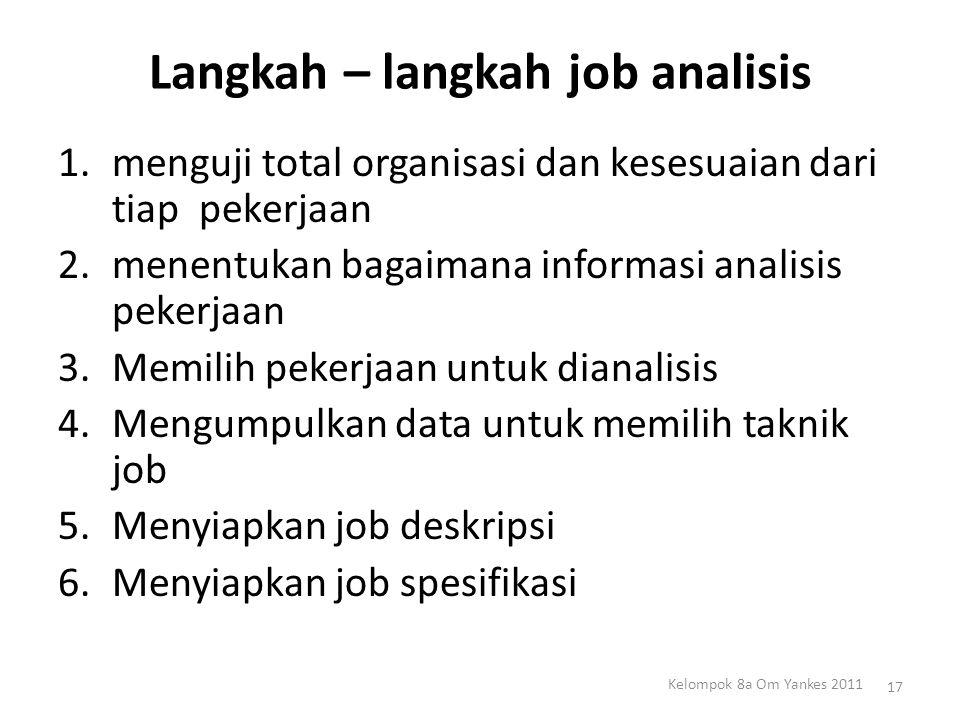 Langkah – langkah job analisis