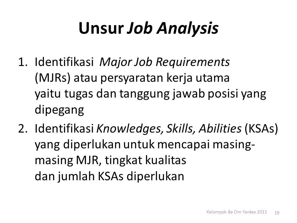 Unsur Job Analysis Identifikasi Major Job Requirements (MJRs) atau persyaratan kerja utama yaitu tugas dan tanggung jawab posisi yang dipegang.