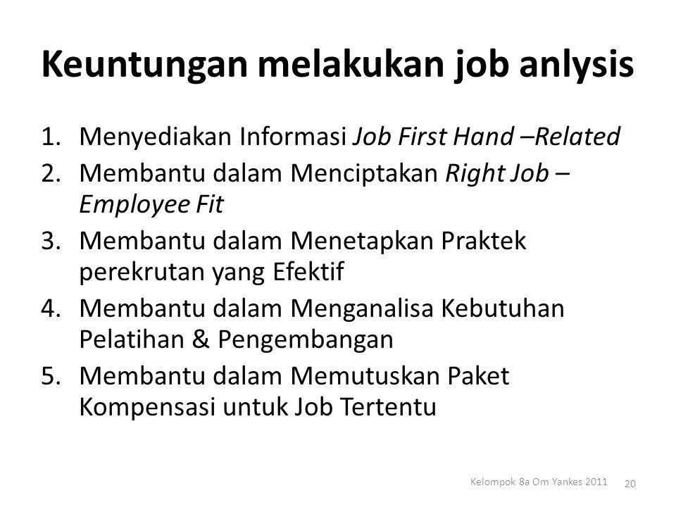 Keuntungan melakukan job anlysis