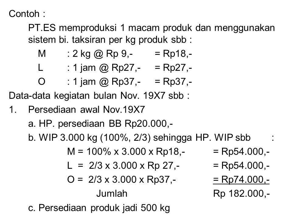 Contoh : PT.ES memproduksi 1 macam produk dan menggunakan sistem bi. taksiran per kg produk sbb : M : 2 kg @ Rp 9,- = Rp18,-