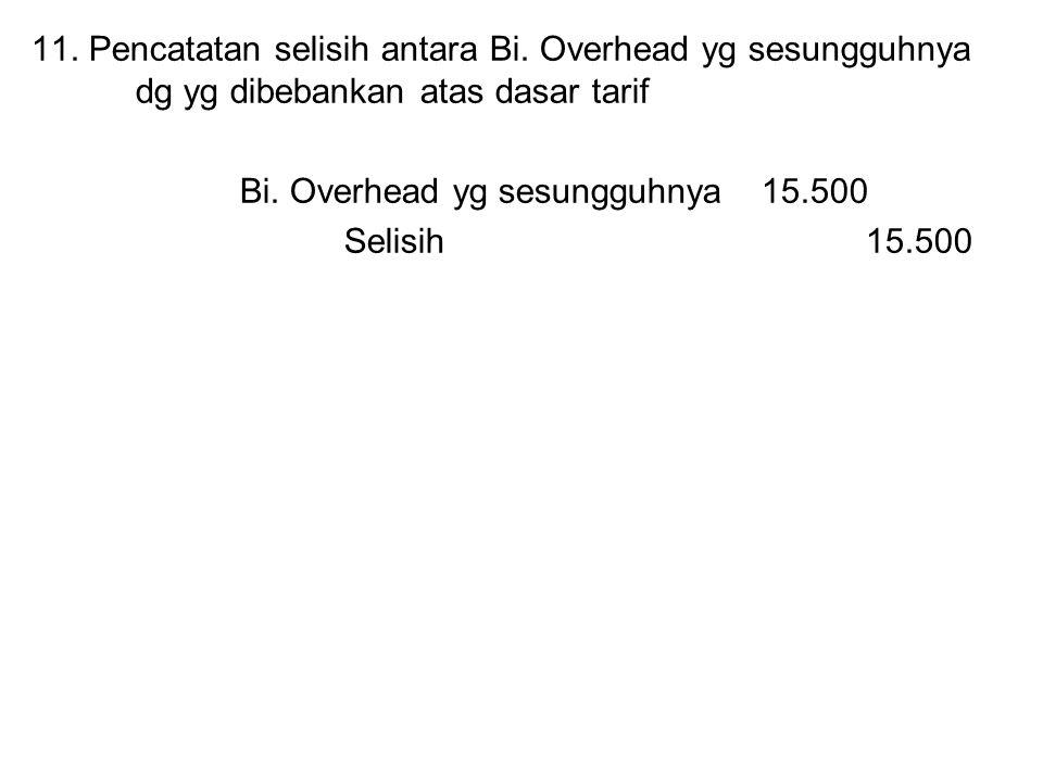 11. Pencatatan selisih antara Bi. Overhead yg sesungguhnya