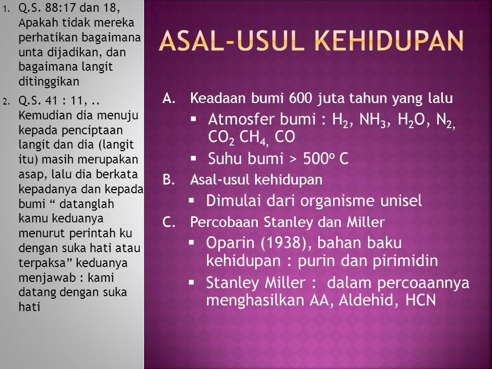 ASAL-USUL KEHIDUPAN Atmosfer bumi : H2, NH3, H2O, N2, CO2 CH4, CO