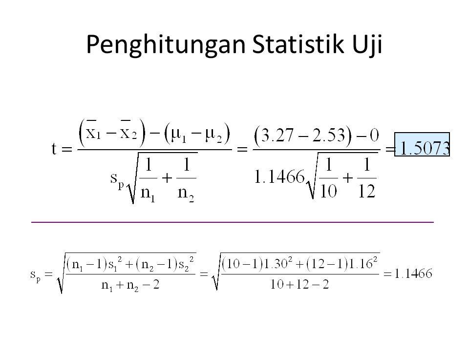 Penghitungan Statistik Uji