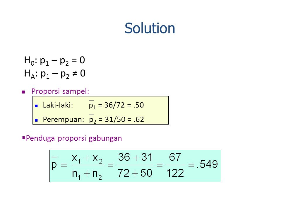 Solution H0: p1 – p2 = 0 HA: p1 – p2 ≠ 0 Proporsi sampel: