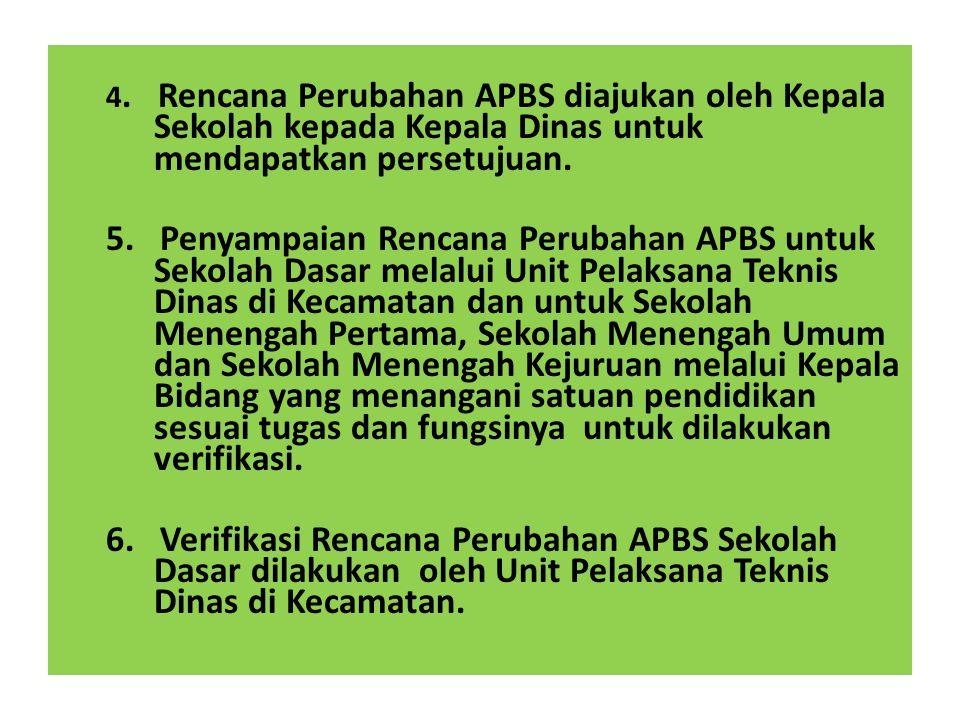 4. Rencana Perubahan APBS diajukan oleh Kepala Sekolah kepada Kepala Dinas untuk mendapatkan persetujuan.