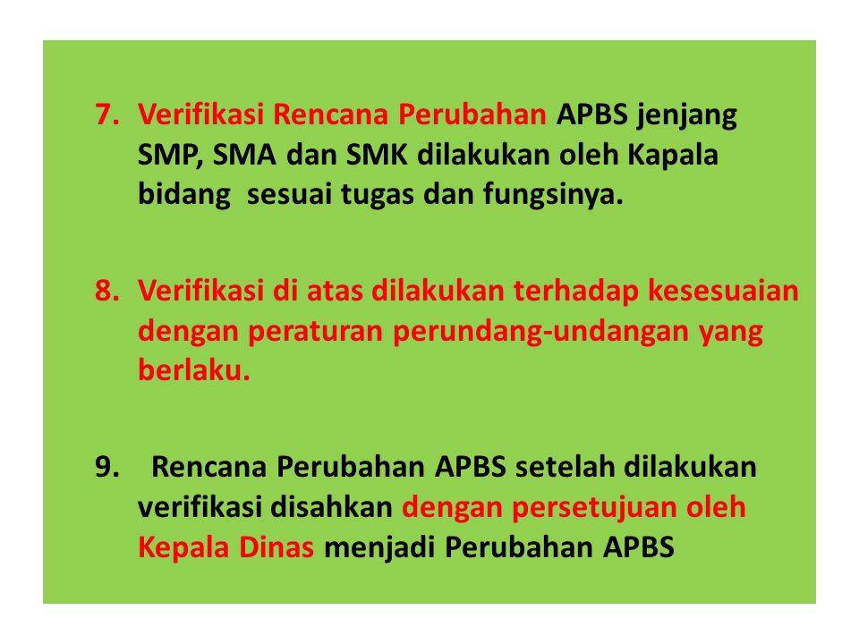 Verifikasi Rencana Perubahan APBS jenjang SMP, SMA dan SMK dilakukan oleh Kapala bidang sesuai tugas dan fungsinya.