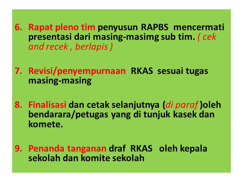Rapat pleno tim penyusun RAPBS mencermati presentasi dari masing-masimg sub tim. ( cek and recek , berlapis )
