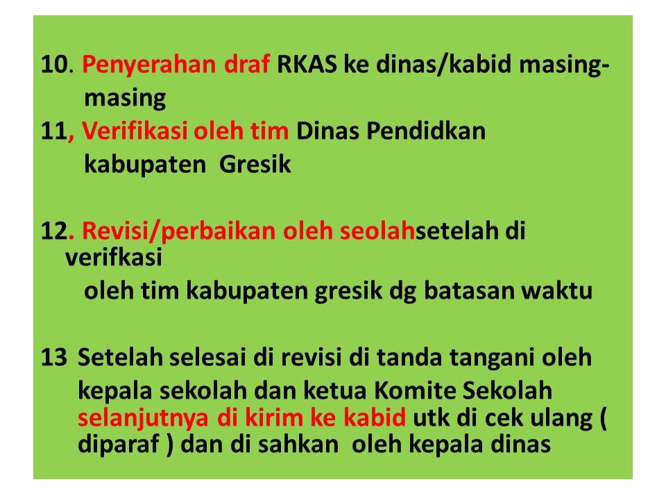 10. Penyerahan draf RKAS ke dinas/kabid masing-